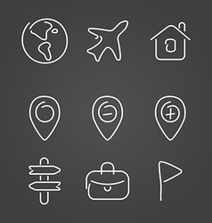 Travel trip set icons draw effect vector