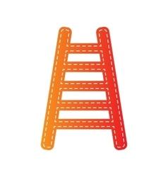 Ladder sign  orange applique isolated vector