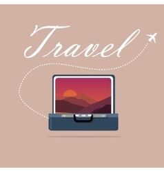 Travel case open picture of landscape sky and vector