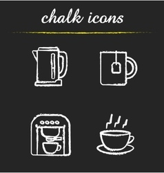 Tea and coffee icons vector