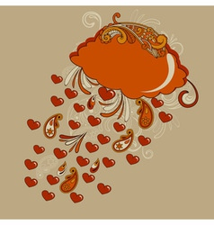 Red cloud with hearts rain vector