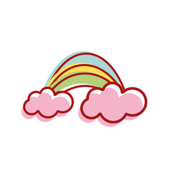 Beauty rainbow with clouds image vector
