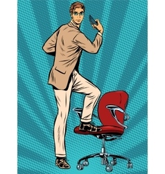 Businessman narcissus retro pop art vector