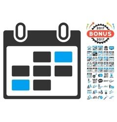 Calendar days icon with 2017 year bonus pictograms vector