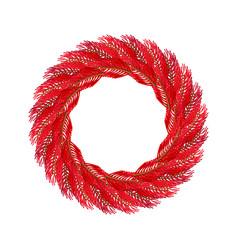Christmas wreath red isolated fir branch circlet vector