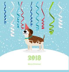 dog and ribbons 2018 christmas card vector image vector image