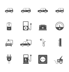 Electric car black icon set vector