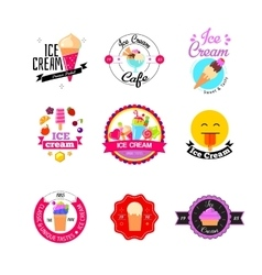 Flat ice cream stickers vector image