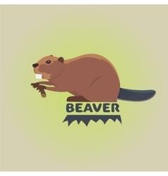 Funny cartoon beaver cartoon style vector image vector image