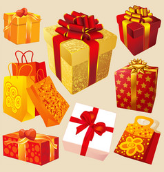 gift boxes with red and gold ribbons vector image vector image
