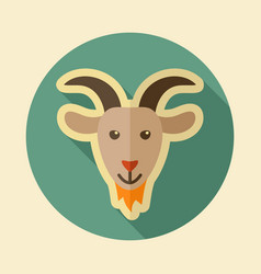 goat flat icon animal head vector image vector image