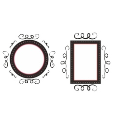 Hand drawn black and pink decorative frames vector image vector image