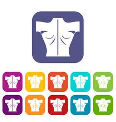 Human back icons set vector