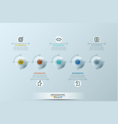 Infographic design template with five rounded vector
