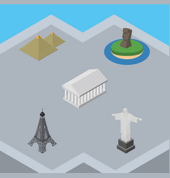 Isometric architecture set of chile egypt paris vector