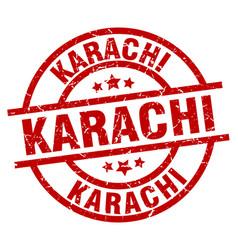Karachi red round grunge stamp vector