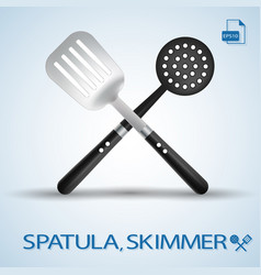 kitchen tools crossed spatula and skimmer isolated vector image