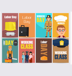 Labor day bright promotion posters collection vector