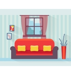 Living room with sofa vector image