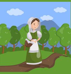 medieval maid on summer landscape background vector image vector image