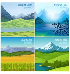 mountain landscape compositions set vector image vector image