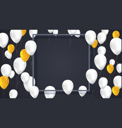 poster background with white yellow balloons and vector image vector image