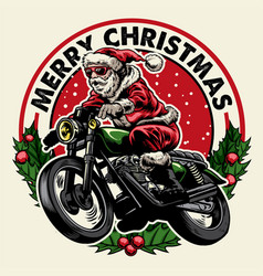 santa claus riding motorcycle badge vector image