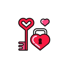 Set - heart and lock vector