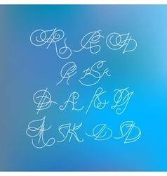 Set of orante lined letters inscribed in art vector