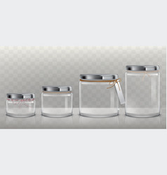 Set of transparent glass jars for storage vector