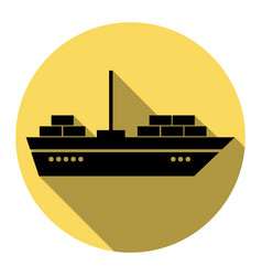 ship sign flat black icon vector image
