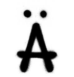 Sprayed scandinavian graffiti font in black vector