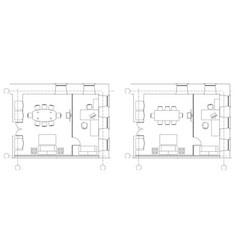 standard office furniture symbols on floor plans vector image vector image