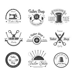 tailor shop salon icons button sewing vector image