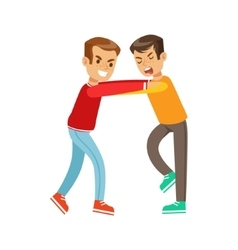 Two boys fist fight positions aggressive bully in vector