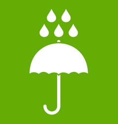 Umbrella and rain drops icon green vector