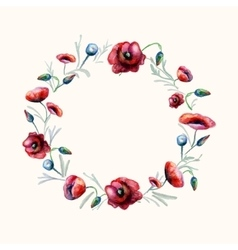 Watercolor red poppies wreath vector