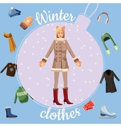 Winter clothes concept cartoon style vector