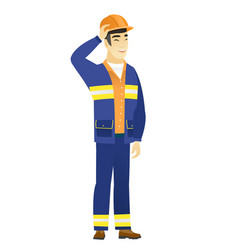 Young asian builder laughing vector