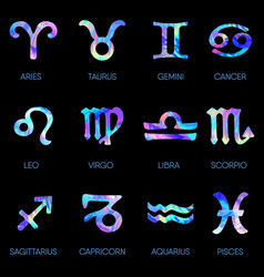 zodiac icons horoscope set on black background vector image
