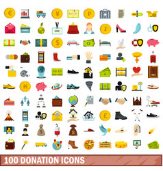 100 donation icons set flat style vector