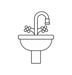 Sink in the bathroom icon outline style vector