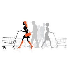 People withs shopping charts vector