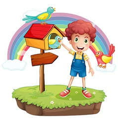 A young boy and the wooden pethouse and signboard vector image