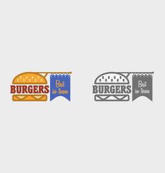 Hamburger icon fast food sign burger symbol vector