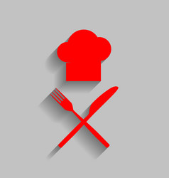 Chef with knife and fork sign  red icon vector
