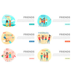 set of friends conceptual web banners vector image