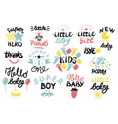 14 children logo with handwriting vector image vector image