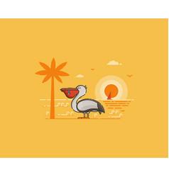 Pelican on seaside background vector