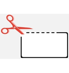 Cut out coupon rectangle shape with scissors vector